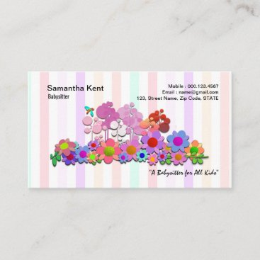 Colorful Garden Flowers Pretty Stripes Babysitter Business Card