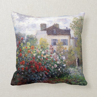 Colorful Garden of Dahlias with Monet Throw Pillow