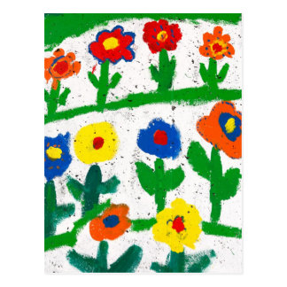Colorful garden postcard