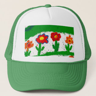 Colorful garden trucker hat