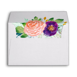Colorful Garden Watercolor Floral Envelope