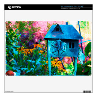 Colorful Garden with Rustic Windmill MacBook Skin