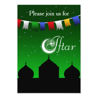 Colorful Garland and Mosque Iftar Party Invitation