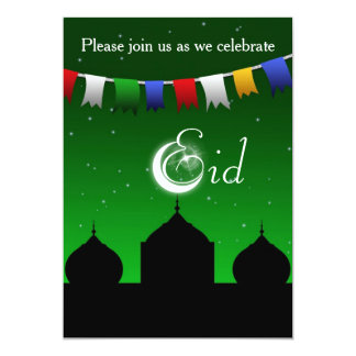 Colorful Garland with Mosque Eid Party Invitation