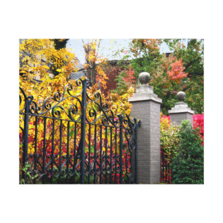 Colorful Gate with Leaves and Trees on Canvas