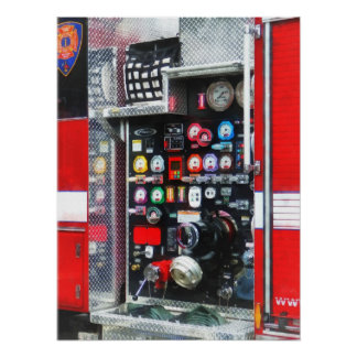 Colorful Gauges on Fire Truck Poster
