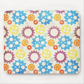 Colorful Gears Grunge Mousepad