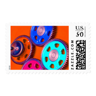 Colorful gears postage