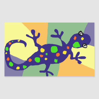 Colorful Gecko Art Rectangular Sticker