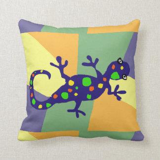 Colorful Gecko Art Throw Pillow