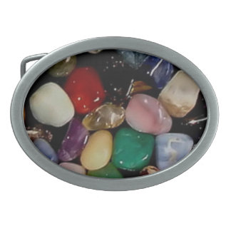 Colorful Gem Stones Oval Belt Buckles