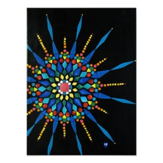 Colorful Gemstone Mosaic Painting Posters