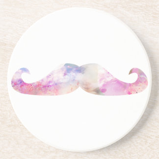 Colorful gentelman mustaches hipsters beverage coaster