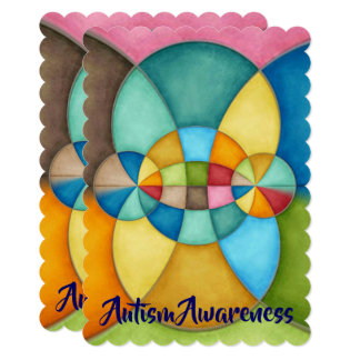 Colorful Geometric Abstract Autism Awareness Card