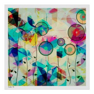 Colorful Geometric Abstract Digital Art Posters
