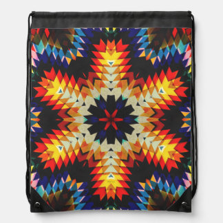 Colorful Geometric Abstract Drawstring Backpack