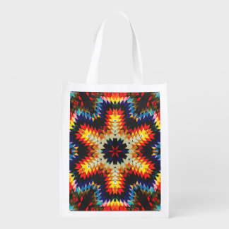 Colorful Geometric Abstract Grocery Bag
