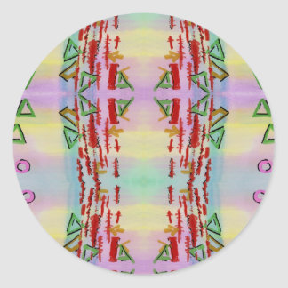 Colorful Geometric Abstract Watercolo Classic Round Sticker