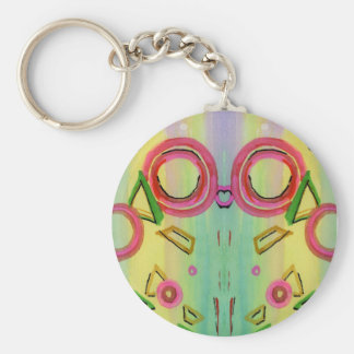 Colorful Geometric Abstract Watercolo Keychain