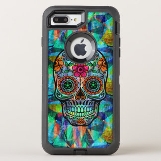 Colorful Geometric Background Floral Sugar Skull OtterBox Defender iPhone 7 Plus Case