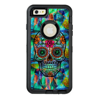 Colorful Geometric Background Floral Sugar Skull OtterBox Defender iPhone Case