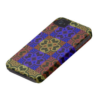 Colorful Geometric ~ Blue & Brown iPhone 4 Covers