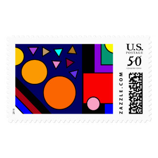 Colorful Geometric Circles and Squares Postage
