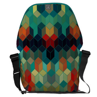 Colorful Geometric Cubes Modern Pattern Messenger Bag