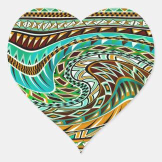 Colorful Geometric Design Heart Sticker