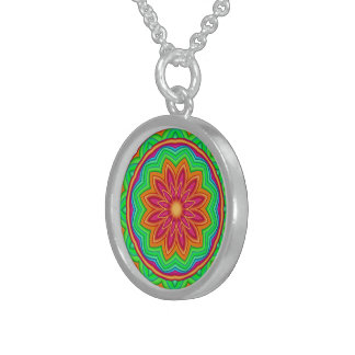 Colorful Geometric Flower Medallion Necklace