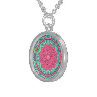 Colorful Geometric Flower MedallionNecklace Round Pendant Necklace