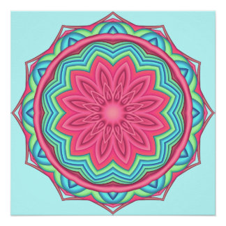 Colorful Geometric Flower Poster