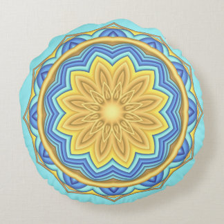 Colorful Geometric Flower Round Throw Pillow
