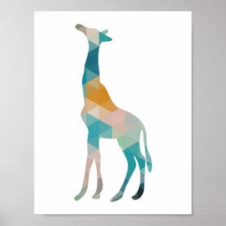 Colorful Geometric Giraffe Silhouette Poster