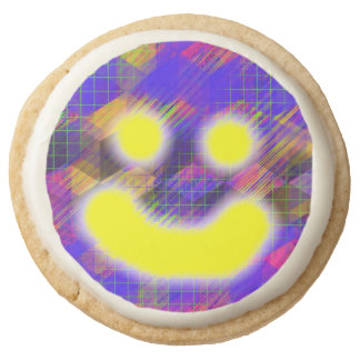 Colorful Geometric Happy Face Shortbread Cookies