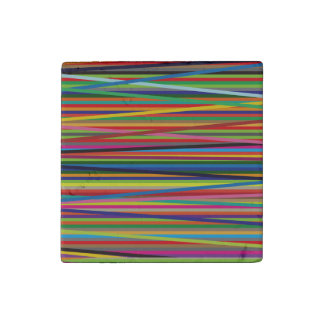 Colorful Geometric Lines Stone Magnet