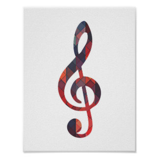 Colorful Geometric Music Note Poster
