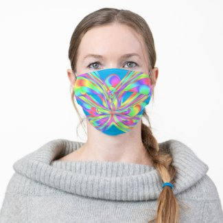 Colorful  geometric pattern - cloth face mask