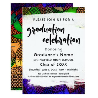 Colorful Geometric Pattern Graduation Party Card