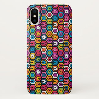 Colorful geometric pattern with hexagons iPhone x case