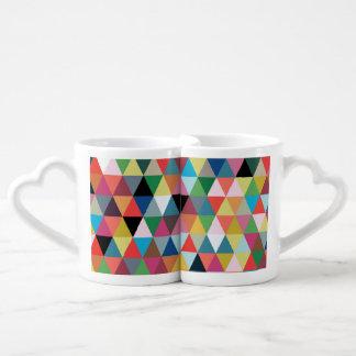 Colorful Geometric Patterned Couple Mugs Couples' Coffee Mug Set