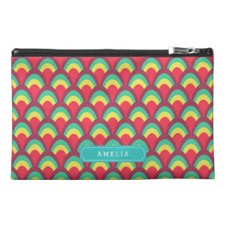 Colorful Geometric Personalize Name Monogram Travel Accessory Bag