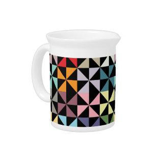 Colorful Geometric Pinwheel Black Beverage Pitchers