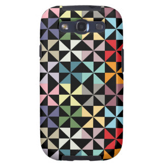 Colorful Geometric Pinwheel Black Galaxy SIII Case