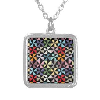 Colorful Geometric Pinwheel Black Pendants