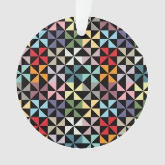 Colorful Geometric Pinwheel Black Ornament
