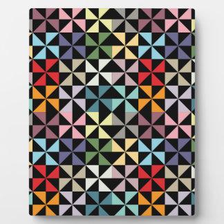Colorful Geometric Pinwheel Black Display Plaques