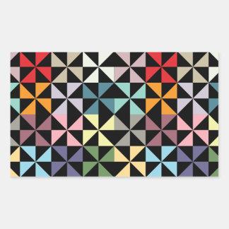 Colorful Geometric Pinwheel Black Rectangular Sticker
