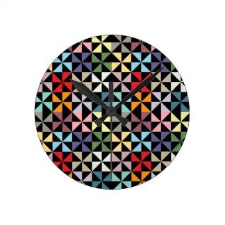 Colorful Geometric Pinwheel Black Round Clock