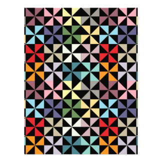 Colorful Geometric Pinwheel Black Scrapbook Paper